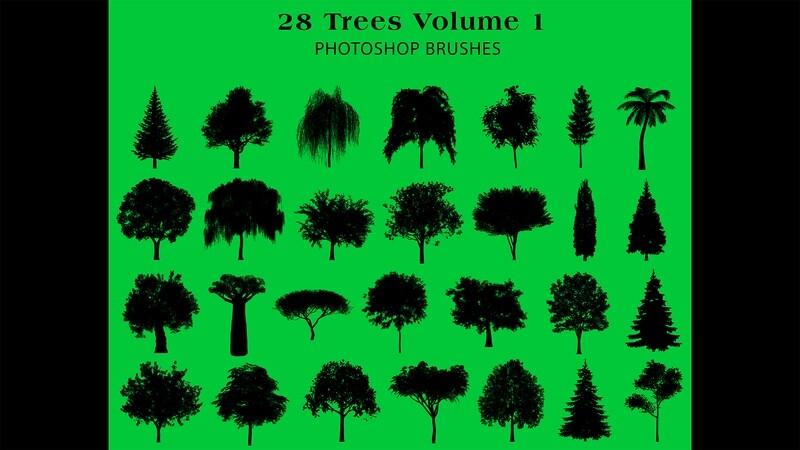 Photoshop Brushes - 28 Tree silhouette Brushes Volume 1