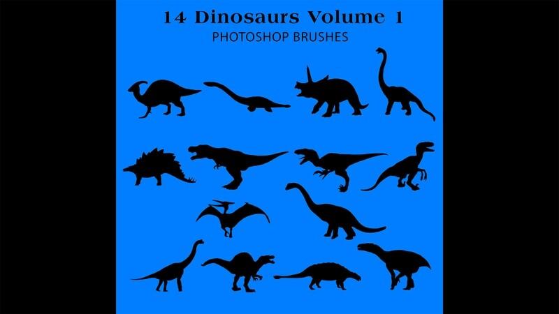 Photoshop Brushes - 14 Dinosaur silhouette Brushes Volume 1