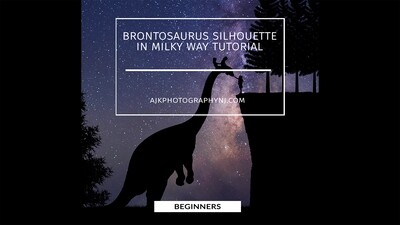 Brontosaurus Dinosaur in Milky Way Silhouette tutorial by Eric Miele from AJKPhotography