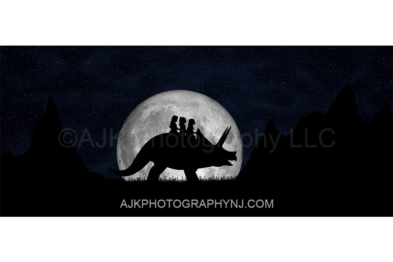 Triceratops silhouette in moon 1 - digital backdrop- dinosaur silhouette digital background by Eric Miele from AJK Photography