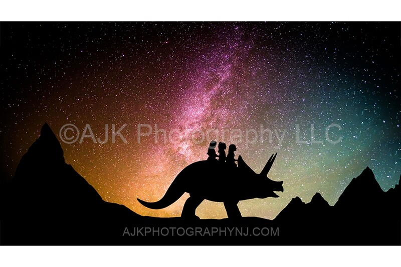 Triceratops silhouette in milky way digital backdrop 1 - dinosaur silhouette digital background by Eric Miele from AJK Photography
