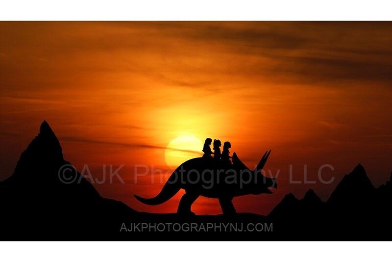 Triceratops silhouette in sunset 1 - digital backdrop- dinosaur silhouette digital background by Eric Miele from AJK Photography