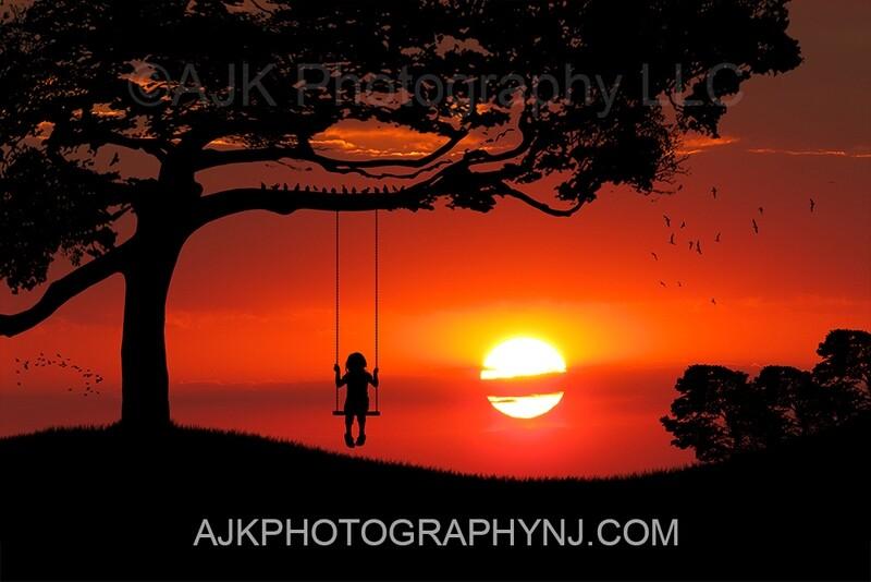 Single swing silhouette in sunset digital backdrop 1- silhouette digital background by Eric Miele from AJK Photography