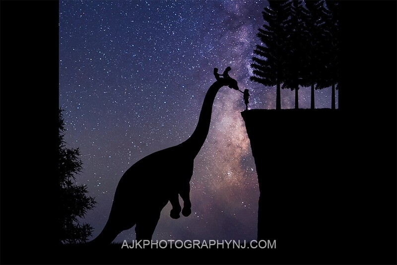 Brontosaurus silhouette in milky way digital backdrop- dinosaur silhouette digital background by Eric Miele from AJK Photography