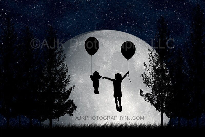 Bear holding balloon silhouette in moon digital backdrop - silhouette digital background by Eric Miele from AJK Photography