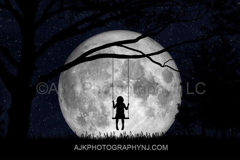 Swing in moon silhouette single seat digital backdrop- silhouette digital background by Eric Miele from AJK Photography