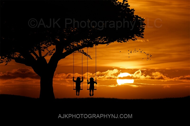 Double swing silhouette in sunset digital backdrop 2- silhouette digital background by Eric Miele from AJK Photography