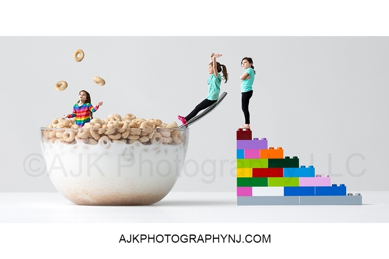 Cereal bowl lego stairs composite- digital background by Eric Miele from AJK Photography