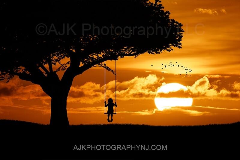 Single swing silhouette in sunset digital backdrop 3- silhouette digital background by Eric Miele from AJK Photography