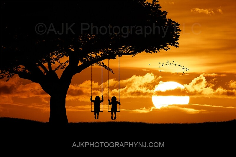 Double swing silhouette in sunset digital backdrop 3- silhouette digital background by Eric Miele from AJK Photography
