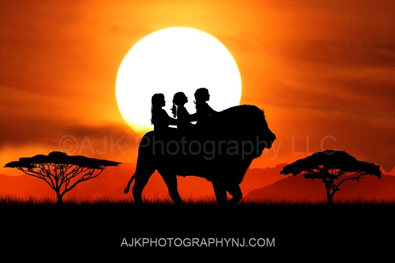 Lion silhouette in sunset digital backdrop - lion silhouette digital background by Eric Miele from AJK Photography