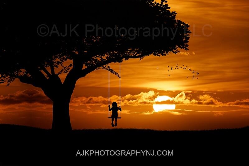 Single swing silhouette in sunset digital backdrop 2- silhouette digital background by Eric Miele from AJK Photography