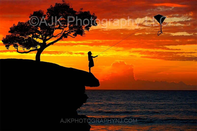 Kite silhouette in sunset digital backdrop 1 - kite silhouette digital background by Eric Miele from AJK Photography