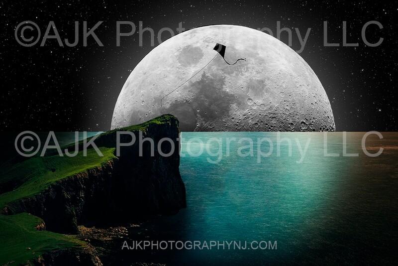 Kite silhouette in moon digital backdrop 1 - kite silhouette digital background by Eric Miele from AJK Photography