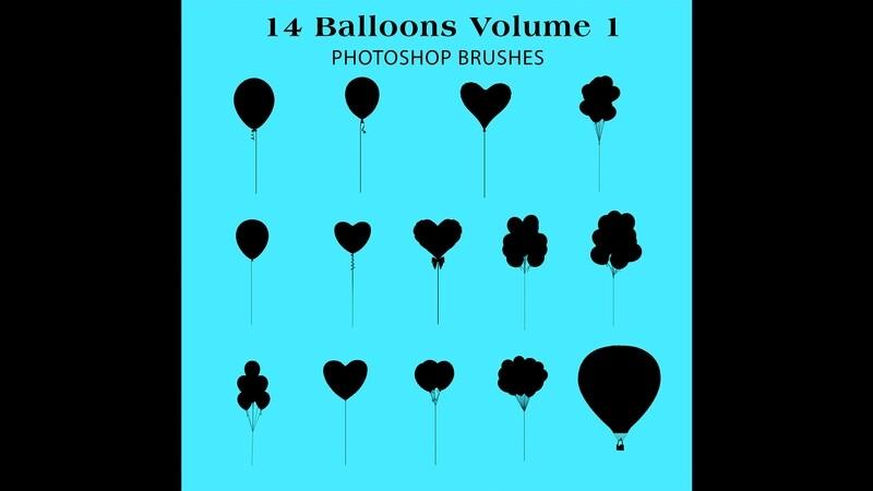 Photoshop Brushes - 14 Balloon silhouette Brushes Volume 1