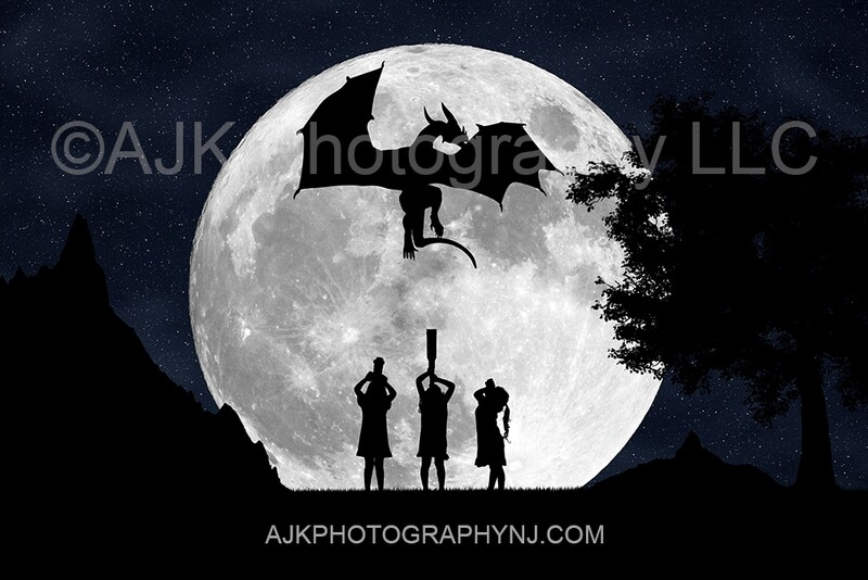 Dragon in moon silhouette digital backdrop - silhouette digital background by Eric Miele from AJK Photography