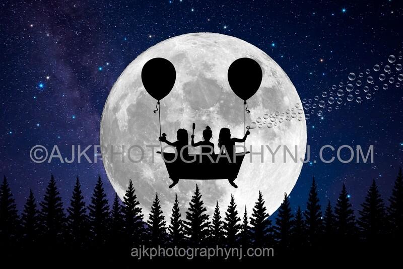 Flying bathtub silhouette in moon digital backdrop #1 - silhouette digital background by Eric Miele from AJK Photography
