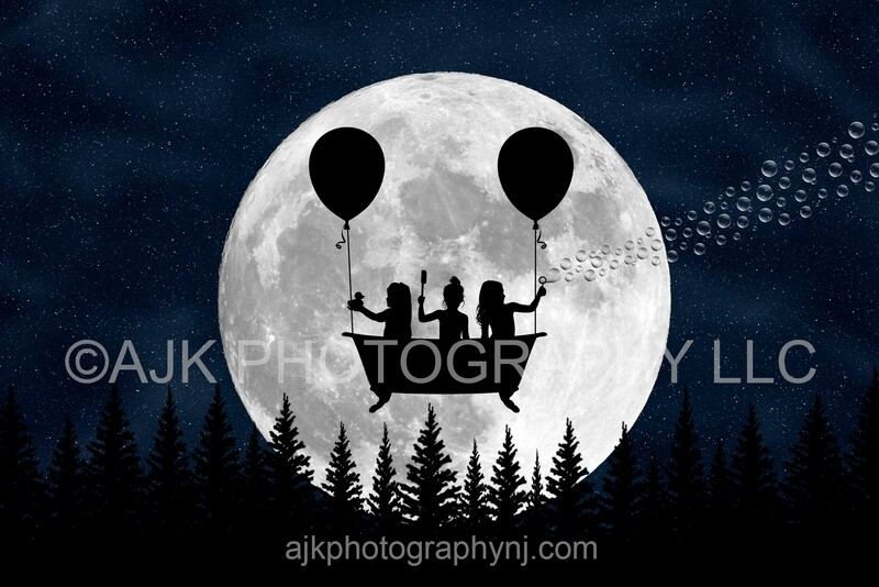 Flying bathtub silhouette in moon digital backdrop #2 - silhouette digital background by Eric Miele from AJK Photography