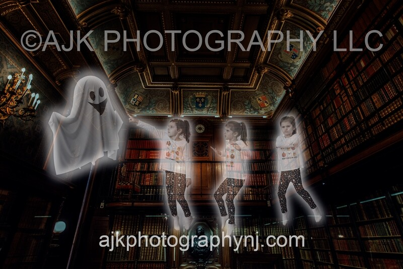 Ghost In Library Digital Backdrop #1, for 2+ subjects, haunted, spooky, phantom, halloween background by Eric Miele from AJK Photography