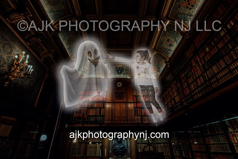Ghost In Library Digital Backdrop #1, for 1 subject, haunted, spooky, phantom, halloween background by Eric Miele from AJK Photography