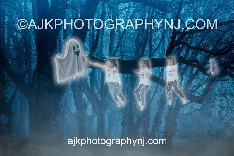 Ghost In Woods Digital Backdrop #1, for 2+ subjects, haunted, spooky, phantom, halloween background by Eric Miele from AJK Photography