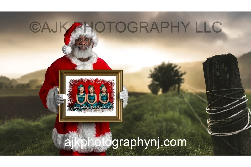 Black Santa Holding a Frame in Field Digital Background, Christmas Digital Backdrop by Eric Miele from AJK Photography