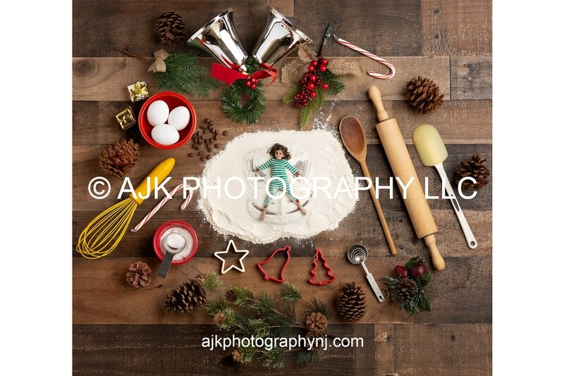 Christmas Flour Angel Digital Backdrop - candy cane, pine cone, silver bells, digital background by Eric Miele from AJK Photography