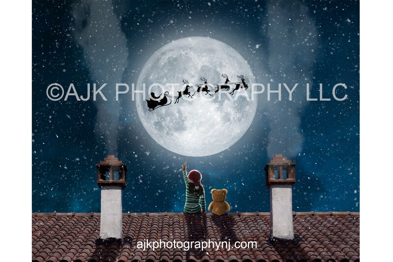 Santa in moon teddy bear on roof Digital Background, Christmas Digital Backdrop by Eric Miele from AJK Photography