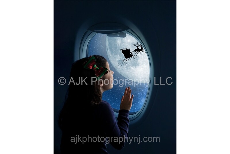 Santa flying in moon outside airplane window Digital Background, Christmas Digital Backdrop by Eric Miele from AJK Photography