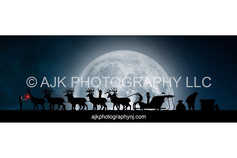 Santa on roof with reindeer, Rudolph eating, snow, moon, chimney, digital background, silhouette Christmas backdrop by Eric Miele from AJK Photography