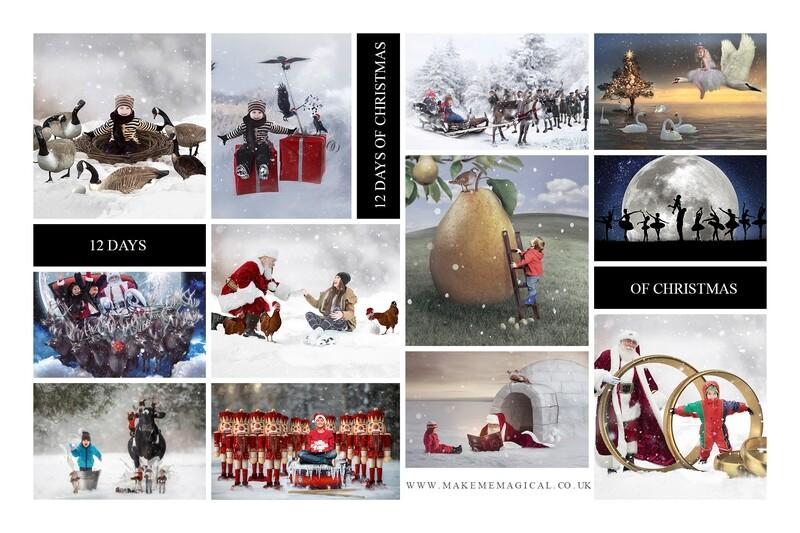 12 Days of Christmas mega bundle pack - 12 digital backdrops