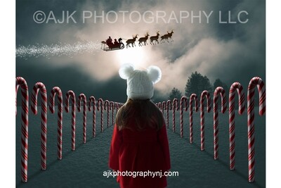 Candy Cane Lane Digital Background, snow, north pole, Santa Claus, reindeer flying, sleigh Christmas Digital Backdrop by Eric Miele from AJK Photography