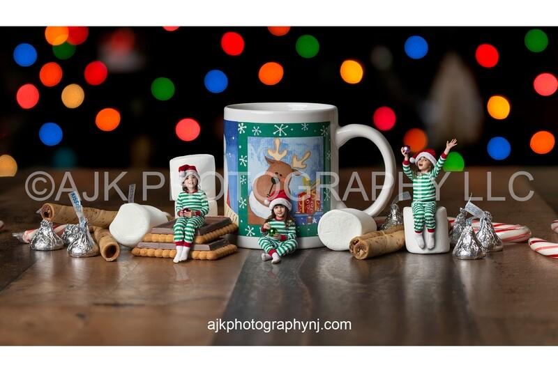 Christmas mug and holiday sweets, composite, holiday digital background by Eric Miele from AJK Photography