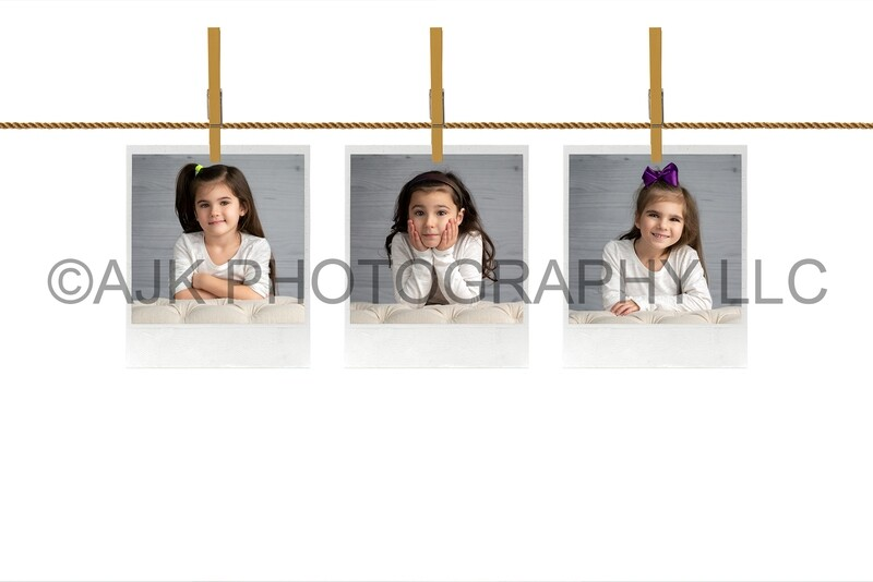 3 blank polaroids on clothing pin wire, digital overlay, composite, digital background by Eric Miele from AJK Photography