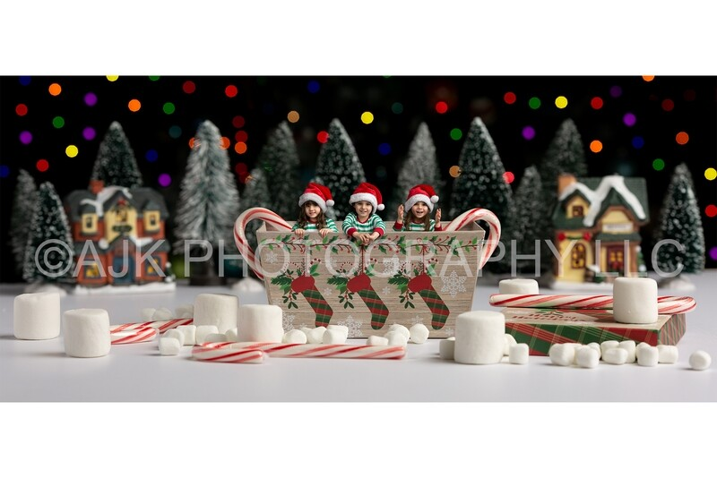 Children in Christmas box with candy canes and marshmallows digital backdrop