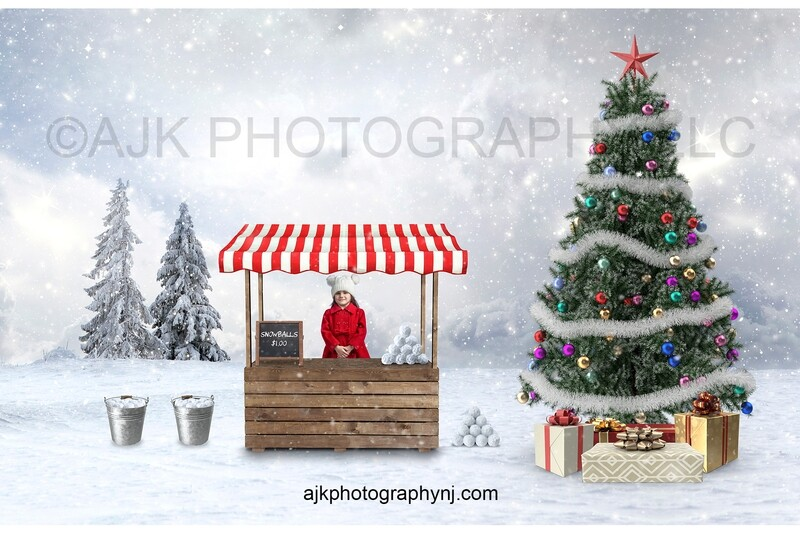 Child selling snowballs in market booth Christmas digital background