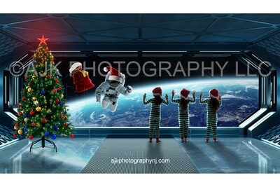 Santa Claus floating in outer space in front of spaceship Christmas digital background
