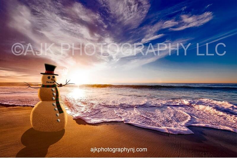 Sand snowman on beach in golden sunset Christmas digital backdrop
