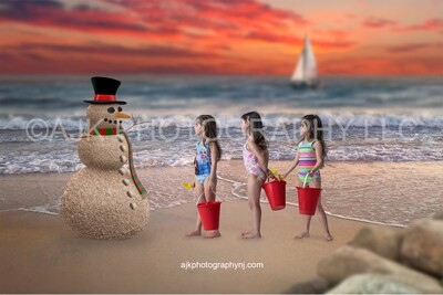 Sand snowman on beach in red sunset Christmas digital backdrop #2