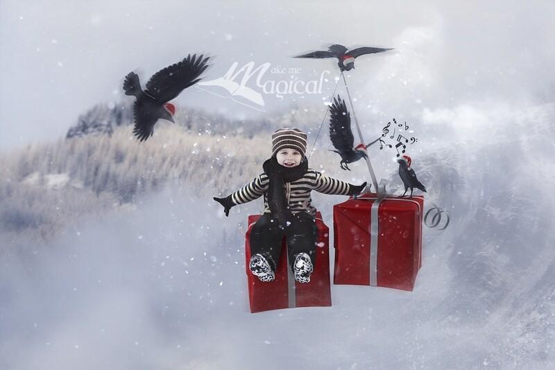 4 Calling Birds digital backdrop, 12 days of Christmas digital background, makememagical christmas digital backdrop, xmas background