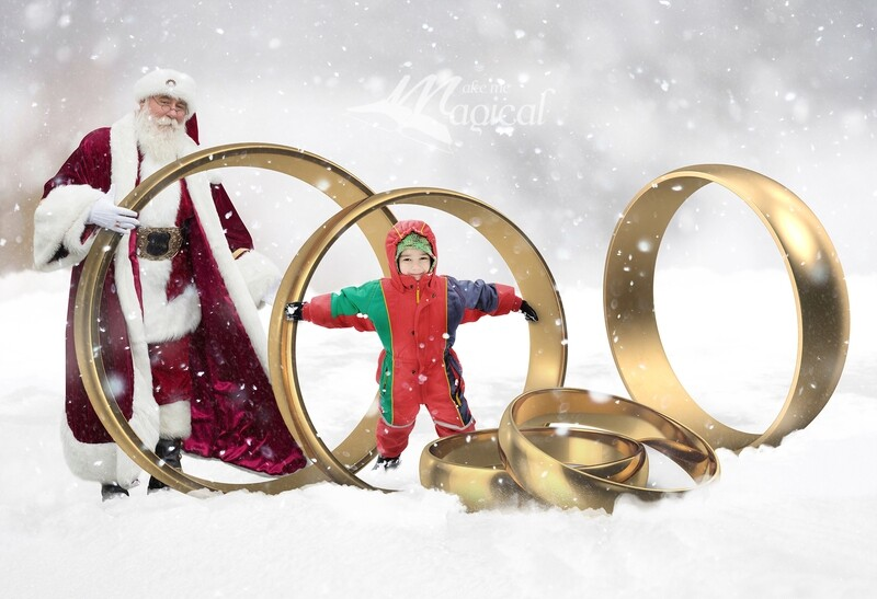 5 Gold rings digital backdrop, 12 days of Christmas digital background by Makememagical, Gold rings in the snow with santa digital backdrop