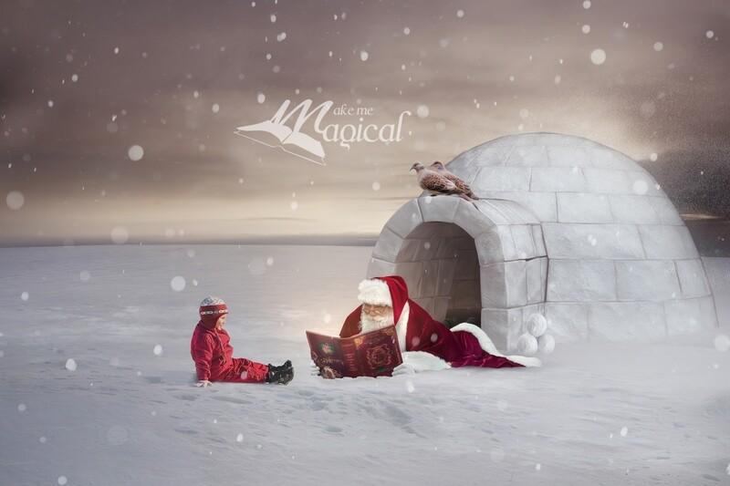 2 Turtle Doves Digital Backdrop, 12 days of Christmas Digital Background, Makememagical Christmas backdrop, Santa, Igloo, magic book