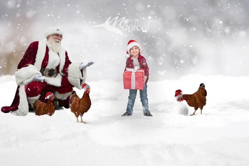 3 French Hens digital backdrop, 12 days of Christmas digital background, santa digital backdrop, snow digital backdrop, makememagical