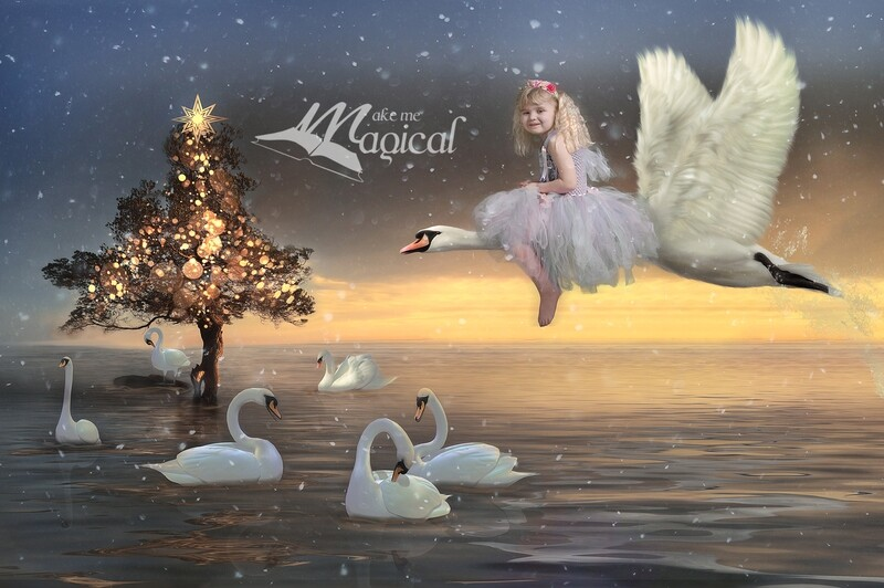 7 swans are swimming digital backdrop, 12 days of Christmas digital background, Christmas digital backdrop by makememagical