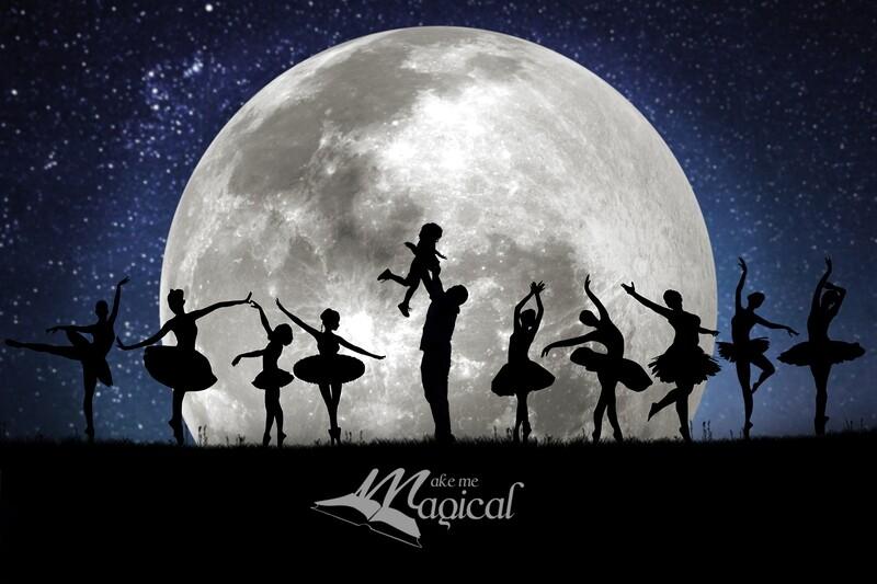 9 ladies dancing digital backdrop, 12 days of xmas digital background by makememagical, nutcracker ballerina moon silhouettes for Christmas