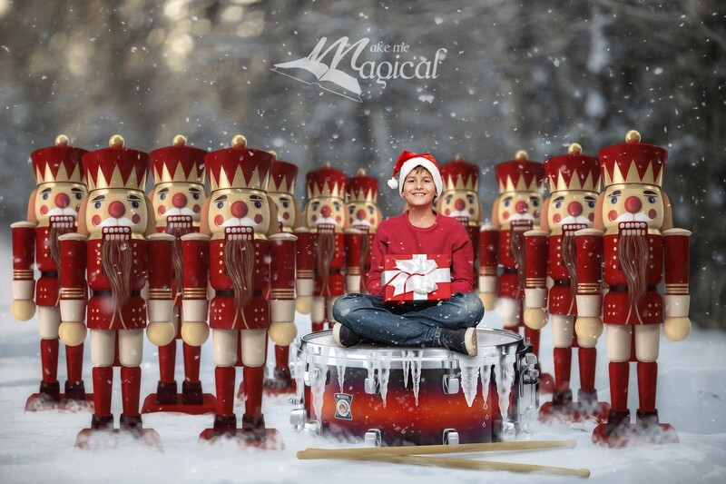 12 drummers drumming digital backdrop, 12 days of xmas digital background, Christmas digital backdrop, Nutcracker soldiers snow backdrop