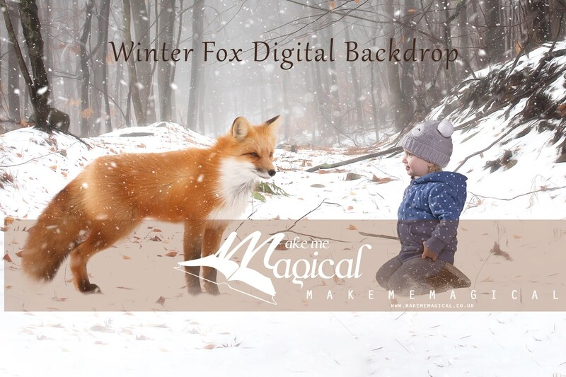 Winter fox in the snow digital backdrop, Christmas digital background by makememagical, Orange winter snow woodland forest digital backdrop