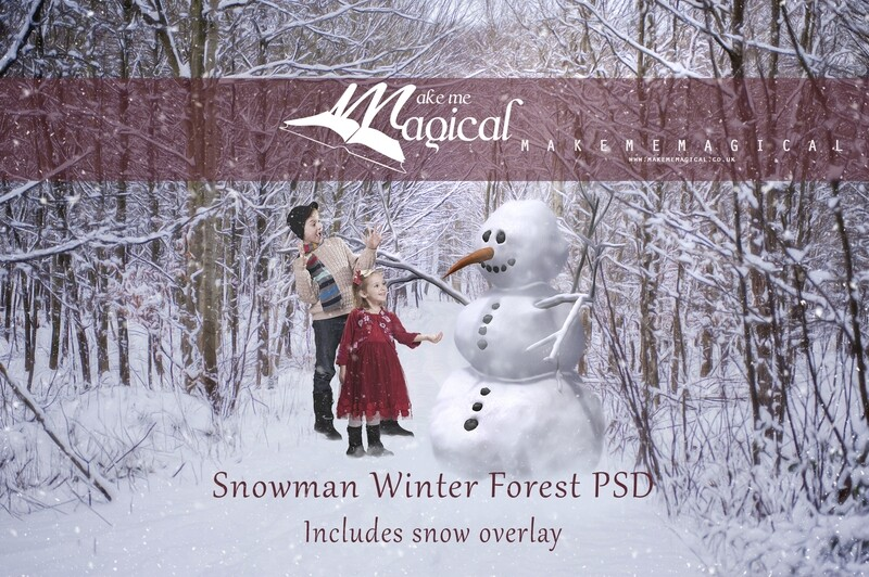 Snowman in the forest Christmas Winter Digital Backdrop Snow Digital Background by Makememagical PSD file with FREE snow overlay