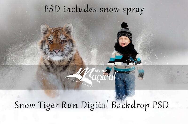 Winter Snow tiger running race Christmas digital backdrop by makememagical digital background PSD free snow spray overlay