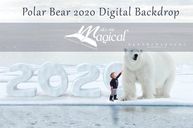 Snow White Polar Bear 2020 Christmas digital backdrop, Polar bear digital background by Makememagical, xmas backdrop, winter snow backdrop